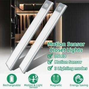 details about usb rechargeable 39 led closet lights motion sensor wardrobe cabinet night lamp