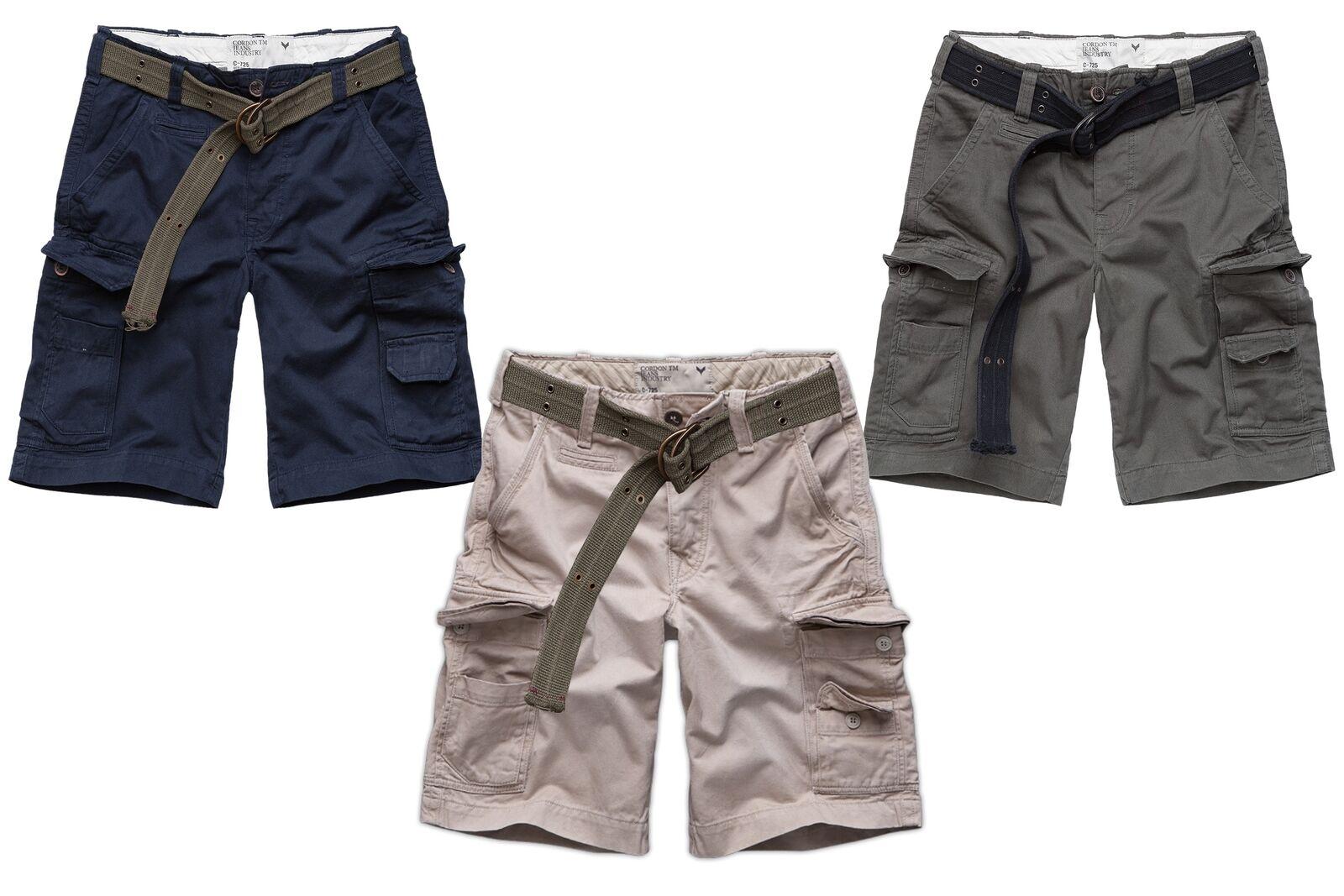 Cordon Sports Berlin Men's Short Cargo Trousers Bud + Belt bluee Beige Grey