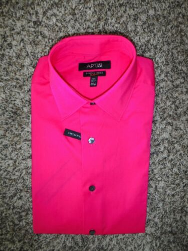 Apt 17 1//2 34//35 9 men/'s stretch fabric slim fit spell pink dress shirt