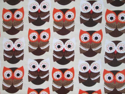 BRIGHT OWLS FOXY OWL BROWN CREAM COTTON FABRIC BTHY