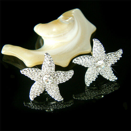 W Swarovski Crystal Starfish Bridal Beach Wedding Marine Star Post Earrings Ebay