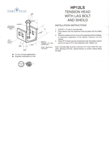 Mobile Home Parts Set of 8 Dry Concrete Anchors Tie Down Straps /& Bolts