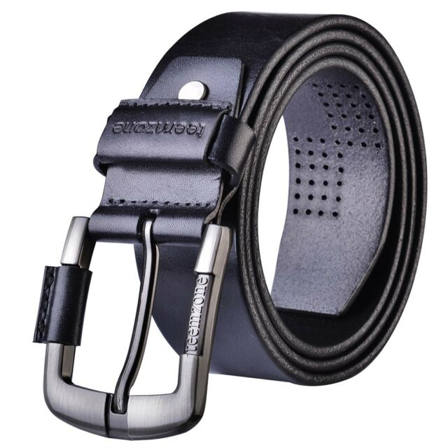 Men Cowhide Leather Work Dress Belt Classic Pin Removable Buckle Branded Western