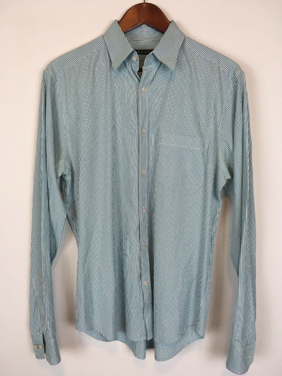 Theory Womens Long Sleeve Button Up bluee Pinstripe Dress Shirts Size M A1427