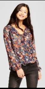 Women-Printed-Long-Sleeve-V-Neck-Top-Mossimo-NAVY-FLORAL
