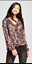 Women-Printed-Long-Sleeve-V-Neck-Top-Mossimo-NAVY-FLORAL thumbnail 1