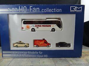 Rietze-H0-Fan-collection-1-87-Bus-PKW-4-Modelle-Taxi-112-Jung-Reisen-OVP-BT74