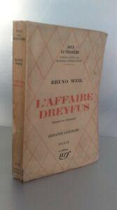 L'Affare Dreyfus Bruno Weil Gallimard Parigi NRF 1930 Spilla ABE