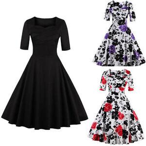 Retro-1950s-Women-Vintage-Hepburn-Floral-Rockabilly-Housewife-Party-Swing-Dress