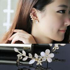 1pcs Women Chic Flower Shape Rhinestone Right Ear Cuff Clip Golden Earring Stud