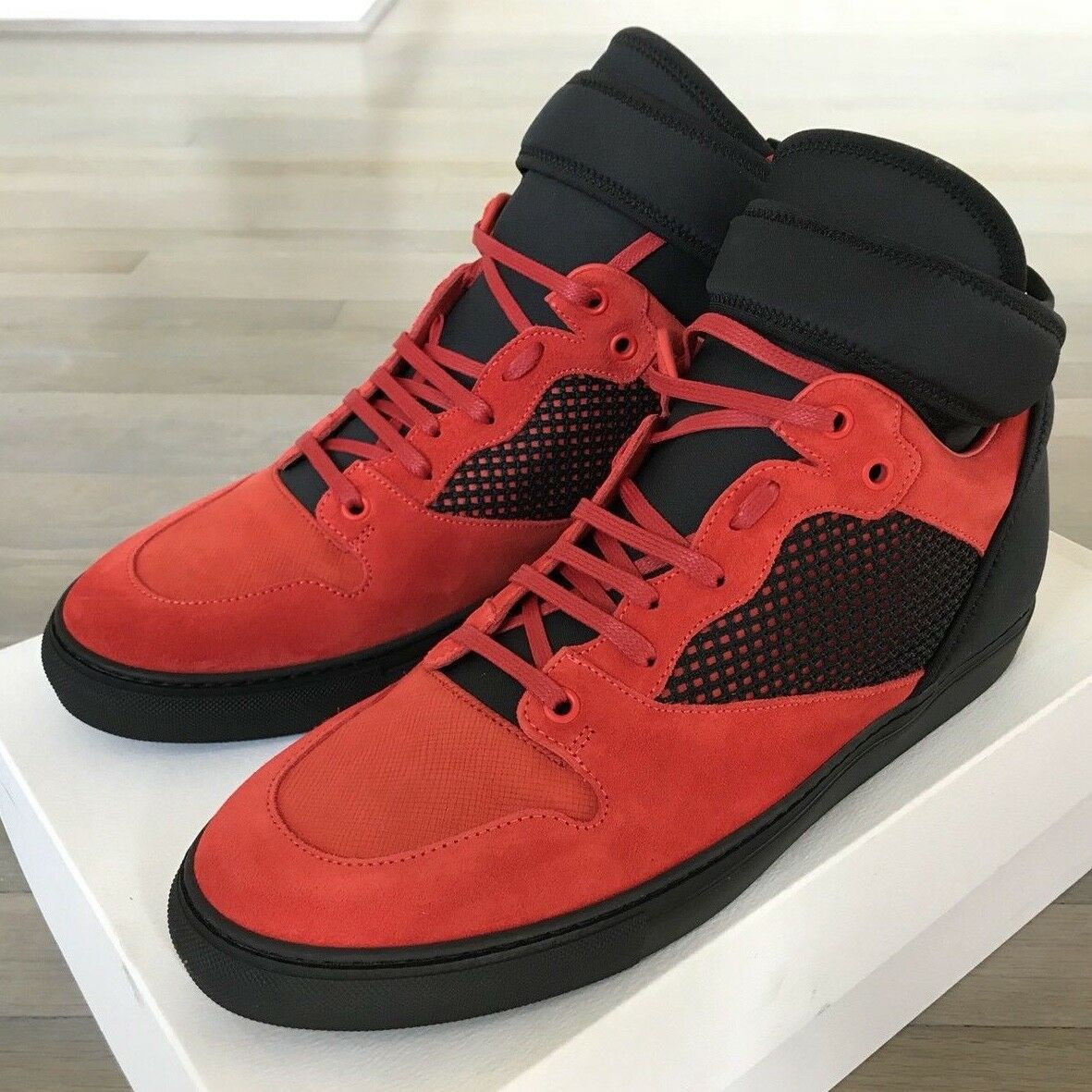 800  Balenciaga Balenciaga Balenciaga Red Suede High Tops  size US 12, EU 45 Made in Italy 9b94d1