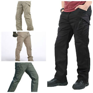 Men-Tactical-Waterproof-Work-Cargo-Long-Pants-with-Pockets-Loose-Trousers