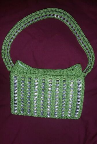 Soda 'verde Chic' a reciclado mano bolso Pop Crochet hecho Shimmery top HxqFBB