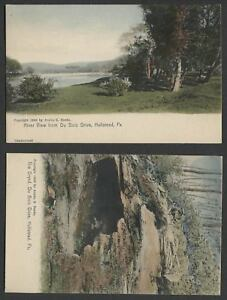 Hallstead-Susquehanna-County-PA-Two-c-1906-Hand-Colored-Postcards-DU-BOIS-DRIVE