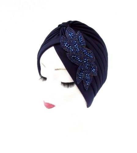 Navy Royal Blue Beaded Turban Headpiece 1920s Flapper Cloche Art Deco Hair 3077