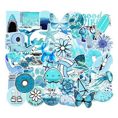Uk Seller Vsco Stickers 53pcs Blue Aesthetic Stickers For Hydro Flask Laptop New Ebay
