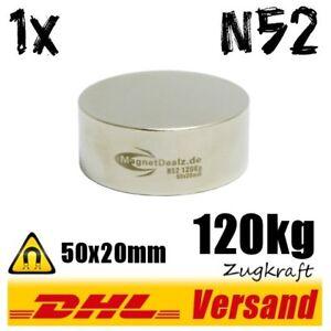Neodym-Magnet-50x20mm-5x2cm-120kg-N52-runder-kraeftiger-Scheibenmagnet-Scheibe