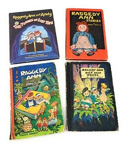Vintage-Raggedy-Ann-and-Andy-Lot-of-4-Books