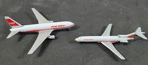 Vintage TWA Diecast Boeing 767 and 727 Airplanes Aircraft Aviation Schabak