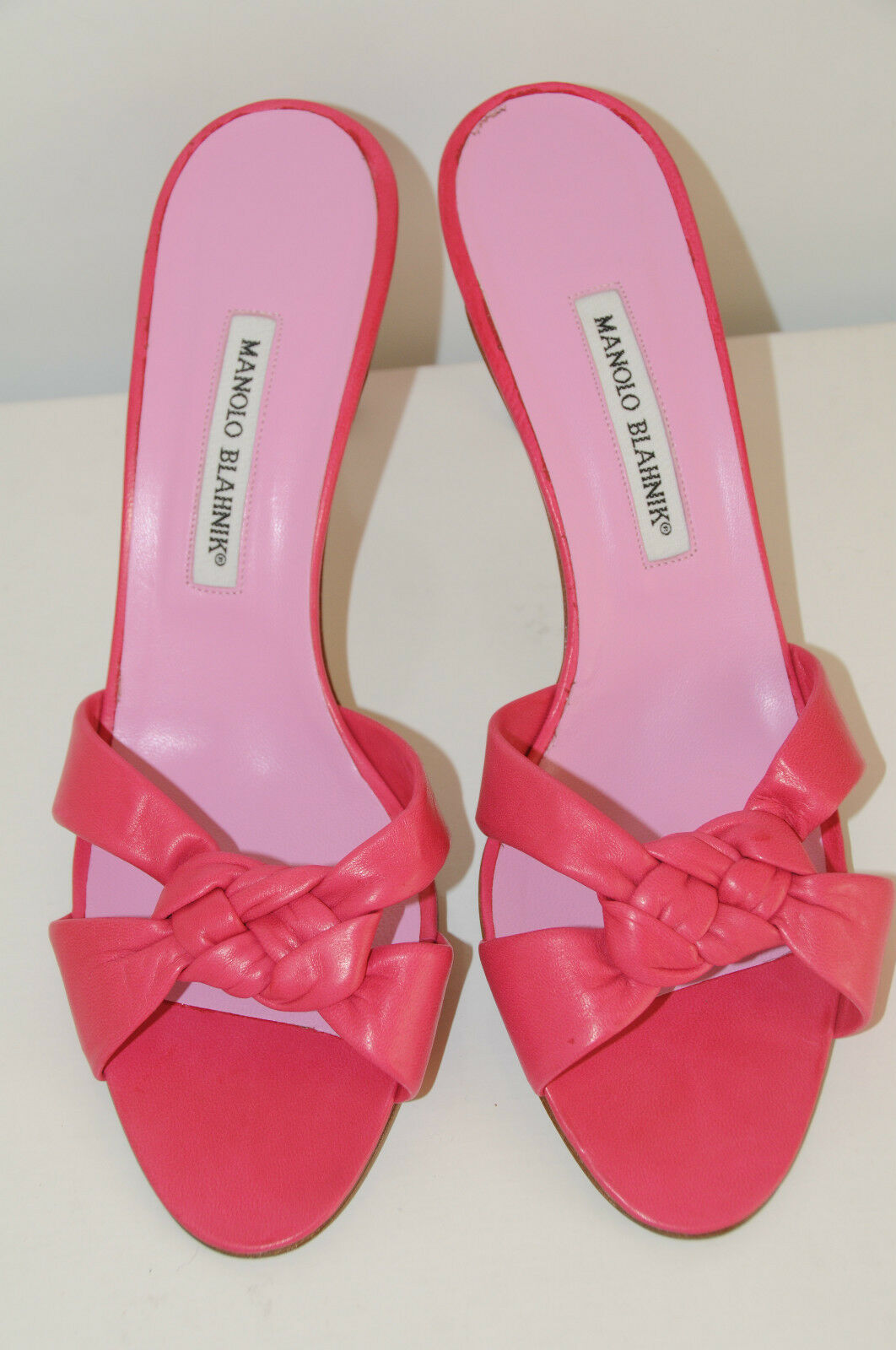 745 New MANOLO BLAHNIK EXIS SANDALS Slide chaussures rose Soft Nappa Leather 37.5