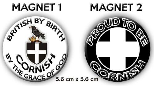 56mm di diametro Cornish patriottico Regalo Cornovaglia Bandiera Magneti Frigo Set Di 2