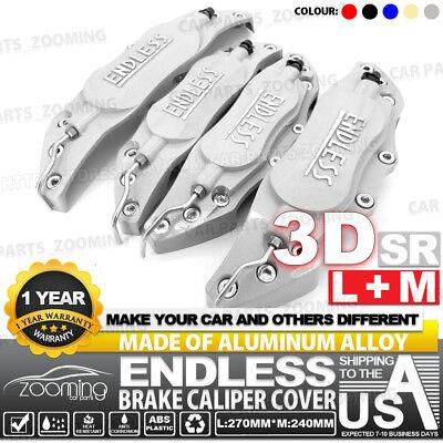 Metal 3D ENDLESS Universal Style Brake Caliper Cover front/&rear 4pcs Silver LW01