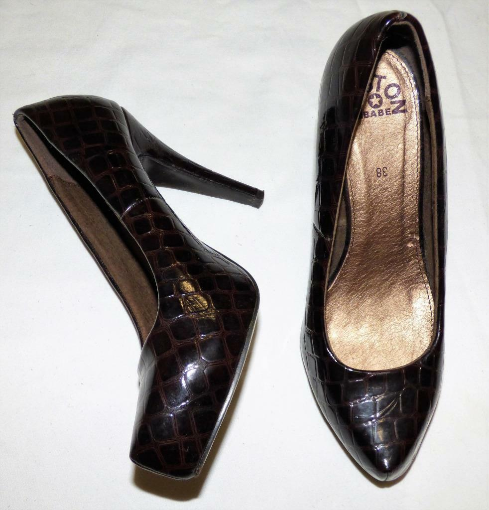 BOSTON BABE moc croc PATENT PLATFORM HEEL 7 BROWN POST OFFICE SHOE 3+ITEM= FREE POST BROWN 46afce