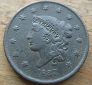 1837-Coronet-Matron-Head-Large-Cent-Penny-N-5-Plain-Cords-Small-Letters-XF-Dets