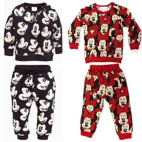 Enfants Garçons Filles Mickey Minnie Mouse pull pantalon vêtements set top bas