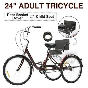 Adult Tricycle Three Wheel Trike Bike Cruiser with Rear Basket Child Seat 24in
