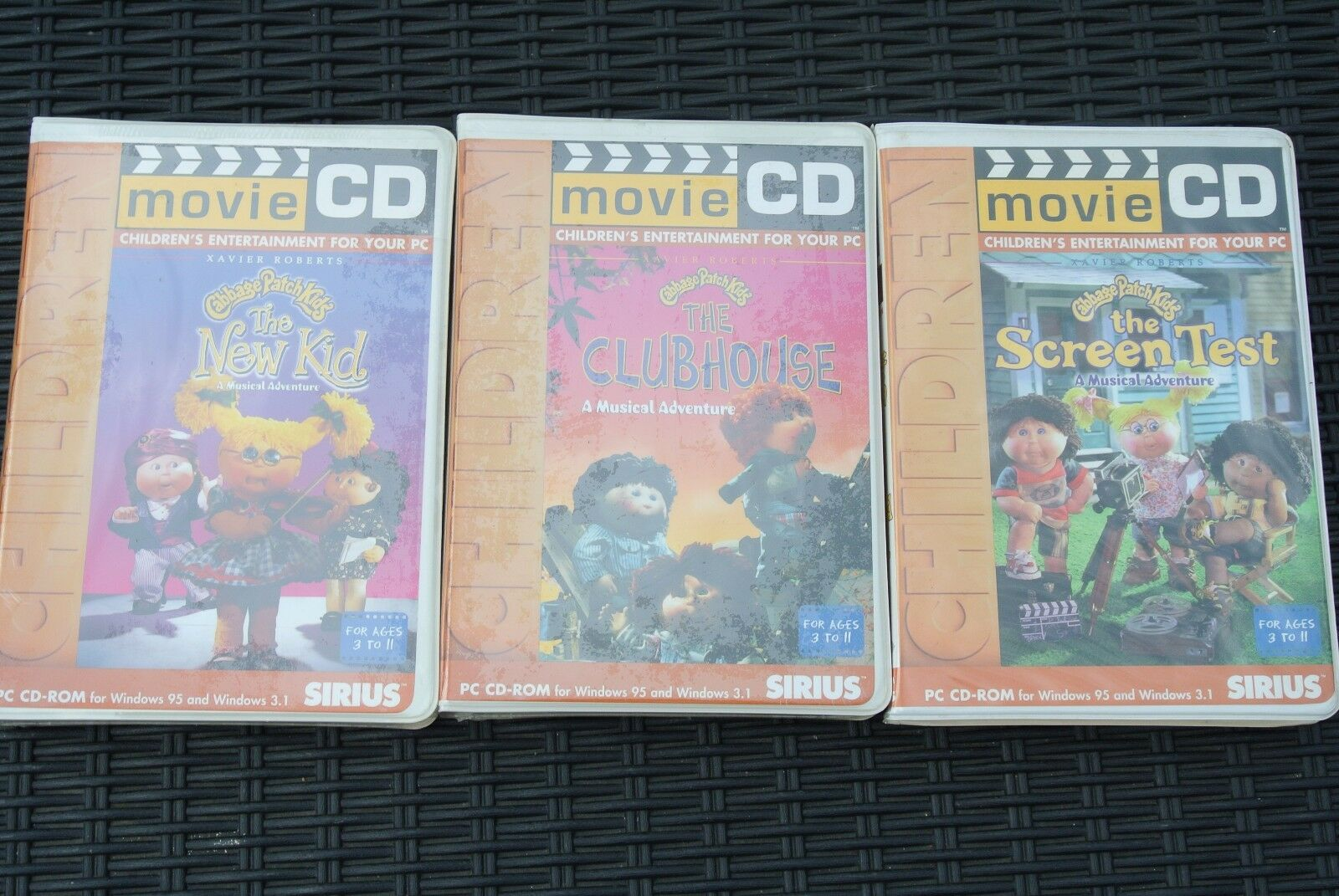 RARE 1995 CABBAGE PATCH KIDS FILM CD x 3 WIN 95 & Win 3.1 da Sirius Publishing