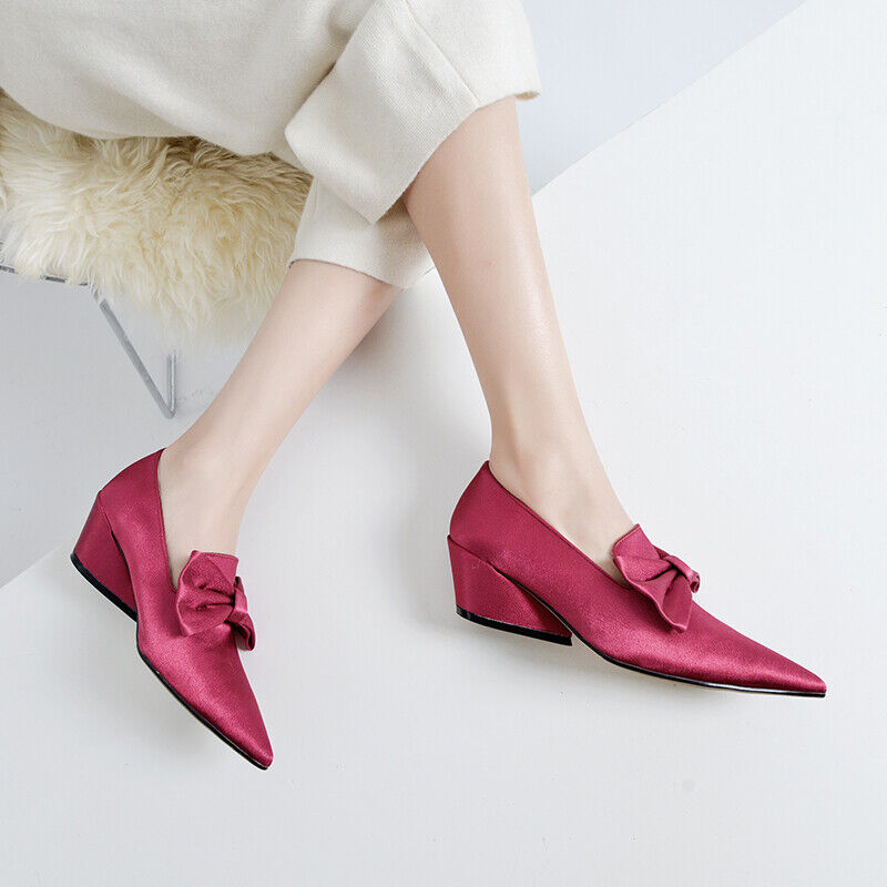 Donna Bow Knot Chunky Heel Pointy Toe Slip On Solid Comfort Pumps Spring scarpe