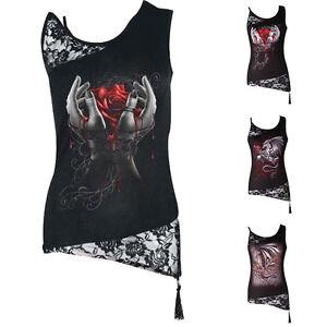 Damen-Oberteile-Sommer-Top-Locker-Tank-Tops-Punk-Armellos-Gothic-T-shirt-Bluse
