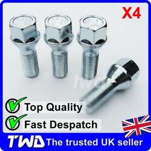 A Locking Wheel Bolts 14x1.5 Nuts Tapered for Opel Vivaro 01-14
