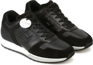 Hogan-H321-Men-039-s-trainers-shoes-in-black-leather-white-sole-Size-UK-9-5-EU-43