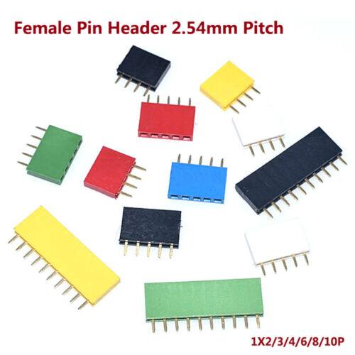 2,54mm Female Pin Header Steckverbinder 1X2~10P Einreihig Buchsenleiste Farben
