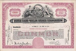Stock-certificate-United-Cigar-Whelam-Stores-Corporation-100-shares-1948