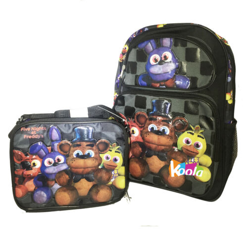 """Five Nights at Freddy/'s Large Backpack 16/"""" Boys School Book Bag Plus Lunch Bag"""