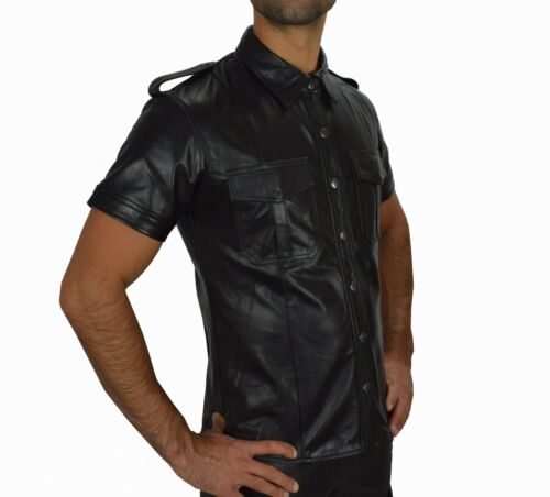 Awanstar Lederhemd Hochwertige leder hemd,leather shirt en cuir,Lederuniform 665