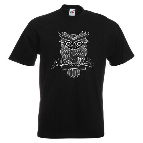 Owl Colourful Black And White Mens PRINTED T-SHIRT Animal Perch Perching Branch