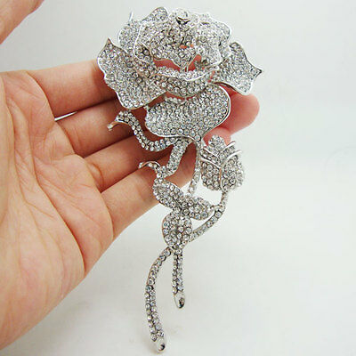 Bride Beautiful Clear Rose Bud Silver-Plate Rhinestone Crystal Wedding Brooch