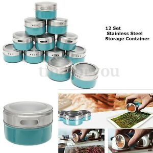 Image Is Loading 12 X Magnetic Spice Tins Stainless Steel Storage