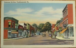 Tunkhannock-PA-1940s-Linen-Postcard-Business-Section-Pennsylvania-Penn