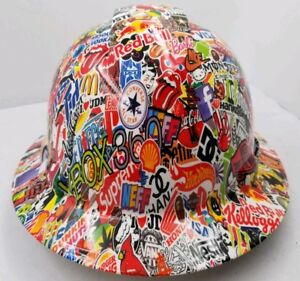 Details about FULL BRIM Hard Hat custom hydro dipped , STICKER BOMB NEW  OSHA APPROVED SICK
