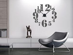Details zu Wandtattoo Uhr Retro Nr 1 Wanduhren Büro Uhr Flur Designer Uhr  Wohnzimmer