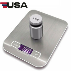 5KG-1g-Digital-Kitchen-Scale-Stainless-Steel-Food-Weight-Balance-USB-Charging-US