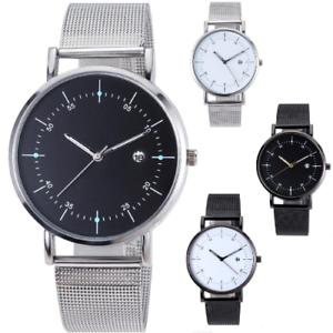 MESH-Quartz-Wrist-WATCH-Business-Casual-Dress-Mens-Womens-Gift-Black-Silver