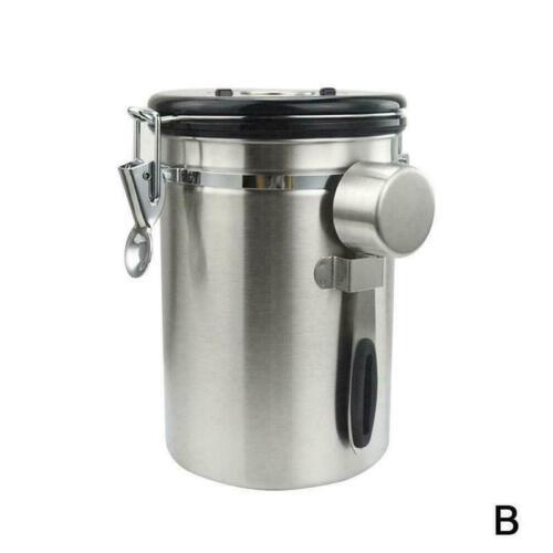 Luftdichter Kaffeekanister Edelstahl-Kaffeebehälter gemahlen besten mit Ven O9T6