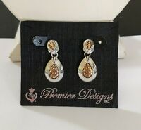 Premier Designs Jewelry Tailored 2-toned Post Back Earrings