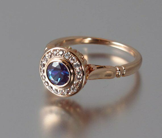 0.75CT Round Cut bluee Sapphire & Diamond Halo Engagement Ring 14K pink gold Over